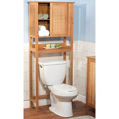 Over Toilet Storage Rack Bathroom Cabinet Space Saver Shelves Organizer Bamboo