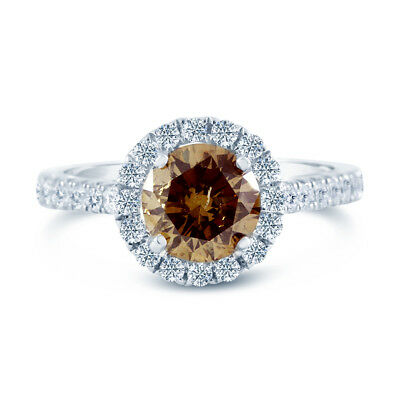 1.71ct GIA Round 14 White Gold Halo Ring Fancy Yellow-Brown (5161729786)