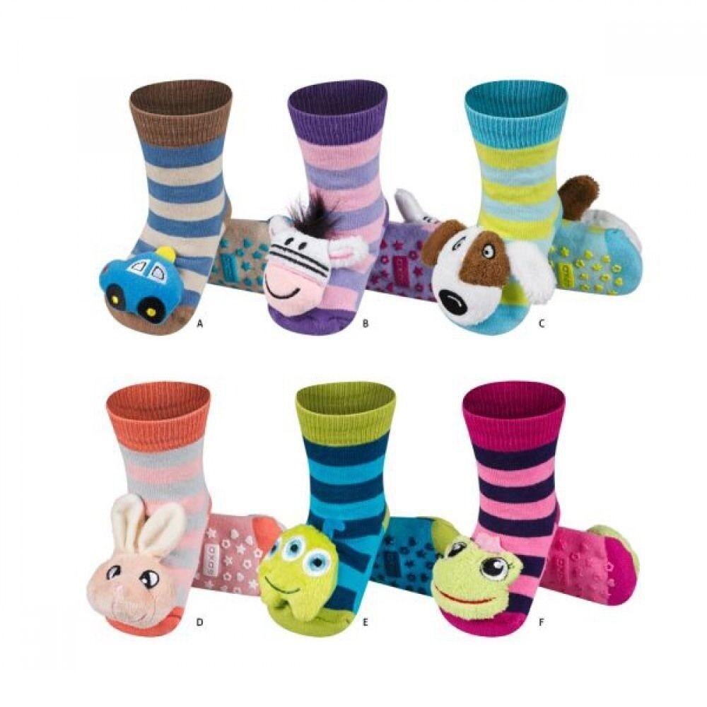 ABS SOCKEN*SOXO* mit Rassel Anti-Rutsch-Sohle  Sockenschuhe Baby Kinder