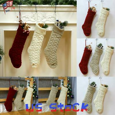 Knit Christmas Stockings (Christmas Gift Socks Cable Knit Xmas Stockings Home Party Decor Hanging Props)