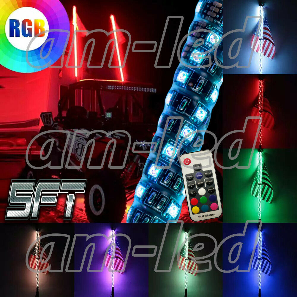 RGB 5ft Lighted Spiral LED Whip Antenna w/Flag & Remote for ATV Polaris RZR UTV