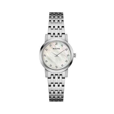 Bulova Quartz Women's Silver-Tone Diamond Accent MOP Dial 27mm Watch 96P175