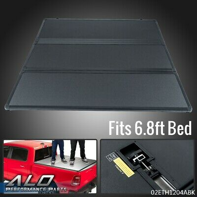 For 1999-2016 Ford F250/F350 6.8FT Long Bed Tri-Fold Hard Tonneau Cover Black