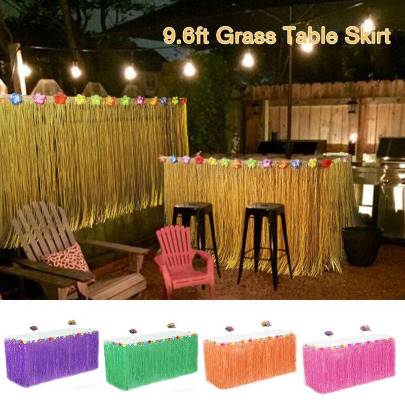 Tropical Hawaiian Luau Table Grass Skirt with Flowers BBQ Pa