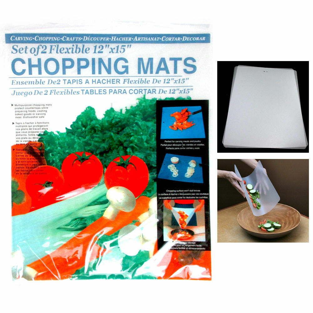 2 Flexible Chopping Mats Kitchen Fruit Vegetable Plastic Cutting Board New Camp