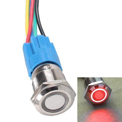 16mm 12v Car Red Led Light Angel Eye Metal Push Button Switch Socket Us Stock