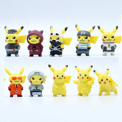 "10 Pcs 1.5"" Pikachu Pokemon GO Action Figures Set Cake Toppers Party Toys Gift"
