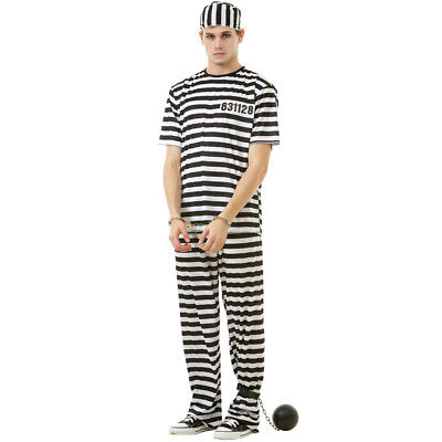 Convict Halloween Costume Mens (Classic Crook Men's Halloween Costume Jailbird Convict Striped Prisoner)