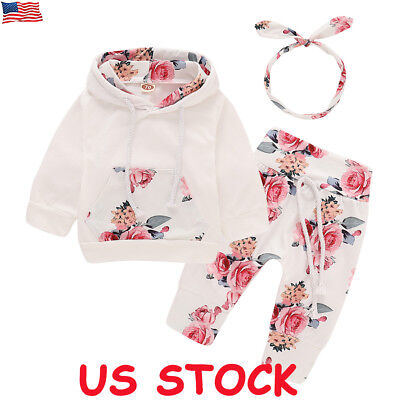 3PCS Newborn Toddler Baby Girl Boy Outfits Floral Clothes Hoodie Tops+Pants Set (Toddler Girl Spring Clothes)