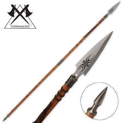 "70"" African Wooden Warrior Spear Knife Double Edge Battle Dagger Spike"