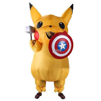 Pikachu Mascot Costume (US SHIP! Adult Mascot Pikachu Inflatable Costume Cosplay Halloween Xmas)