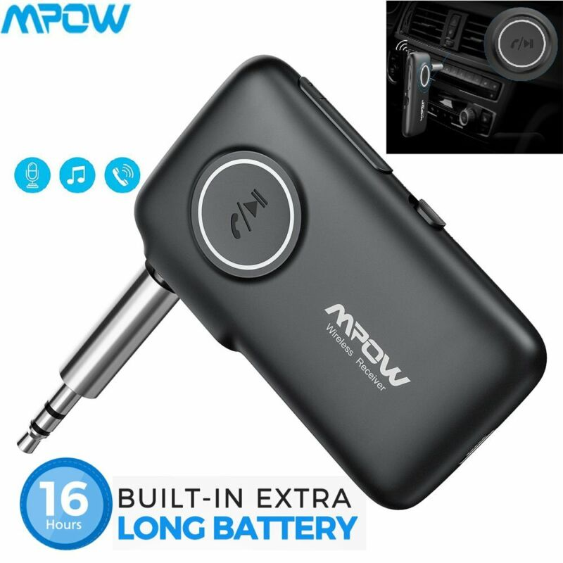 Mpow 3.5mm Bluetooth 5.0 AUX Audio Car Receiver Adapter w/Mic Home Stereo Music