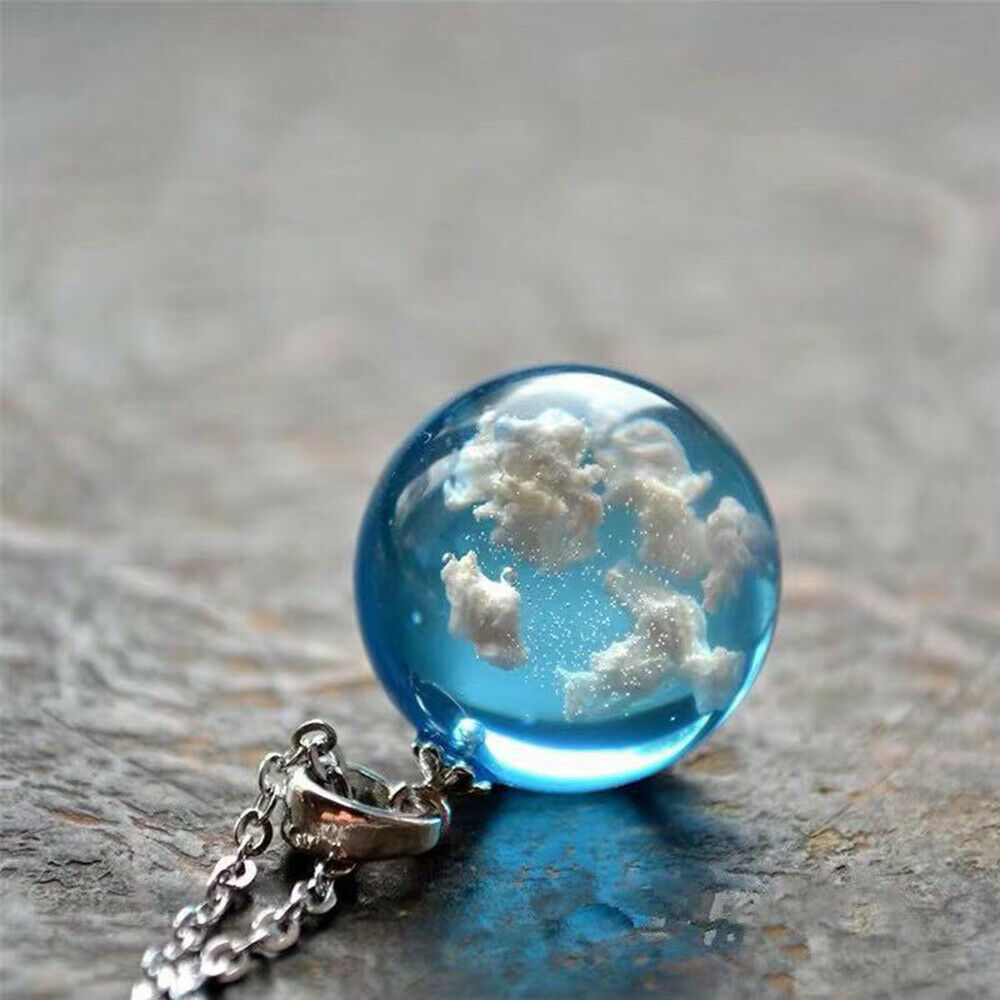 Jewellery - White Clouds Blue Sky Resin Glass Ball Pendant Necklace Terrarium Jewelry Gift