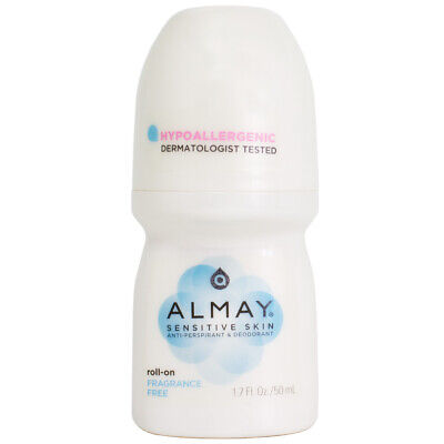 Almay Roll-On Anti-Perspirant & Deodorant for Sensitive Skin, Fragrance Free 1.7