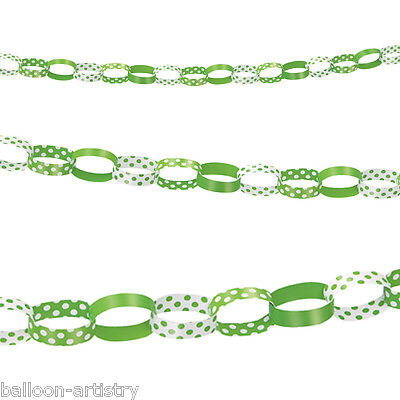 5ft GREEN White Polka Dot Spot Style Party Paper Chain Garland Decoration