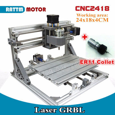 3 Axis 2418 Mini Diy Laser Mill Machine Router Grbl Controler11 Collet Cnc Kit
