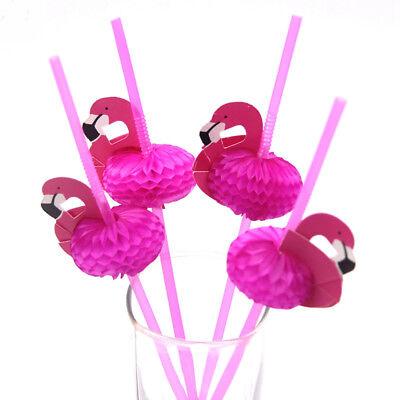 10/20/100Pcs Flamingo Cocktail Drinking Straw Hawaiian Party Theme Decoration