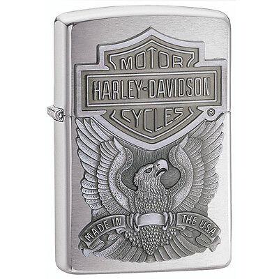 Zippo Harley Davidson Chrome Lighter With Emblem, Item 200HD.H284, New In Box
