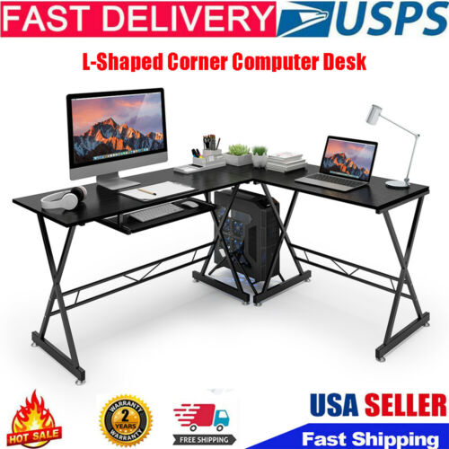L-Shaped Corner Computer Desk Gaming Table Laptop Study Stee
