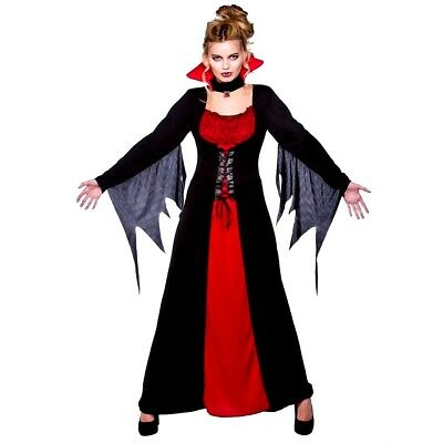 Adult CLASSIC VAMPIRESS Ladies Halloween Party Fancy Dress Costume UK Sizes 6-28](Size 28 Ladies Halloween Costumes)