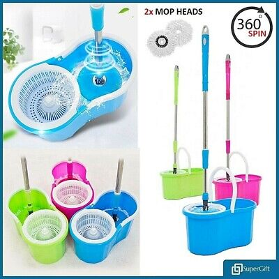 BUCKET MOP BUCKET MOPS HOME CLEANING SPINNING 360° WITH 2 HEADS ROTATING MOP