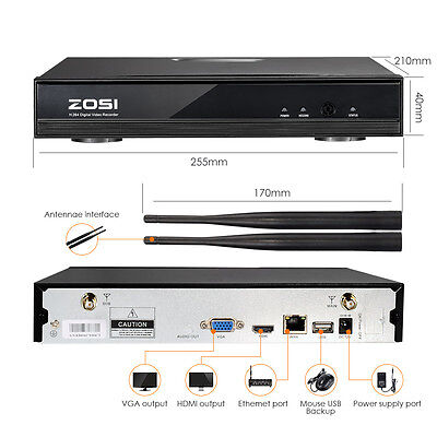 ZOSI 4CH 960P HD Wireless NVR WLAN IP Kamera Set Funk Video Überwachungssystem