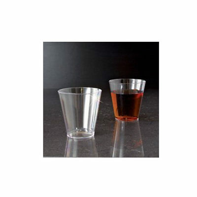25 Clear Shot Glasses 2 oz Hard Plastic Disposable Cups Wine Party Catering Bar - 2 Oz Plastic Shot Glasses