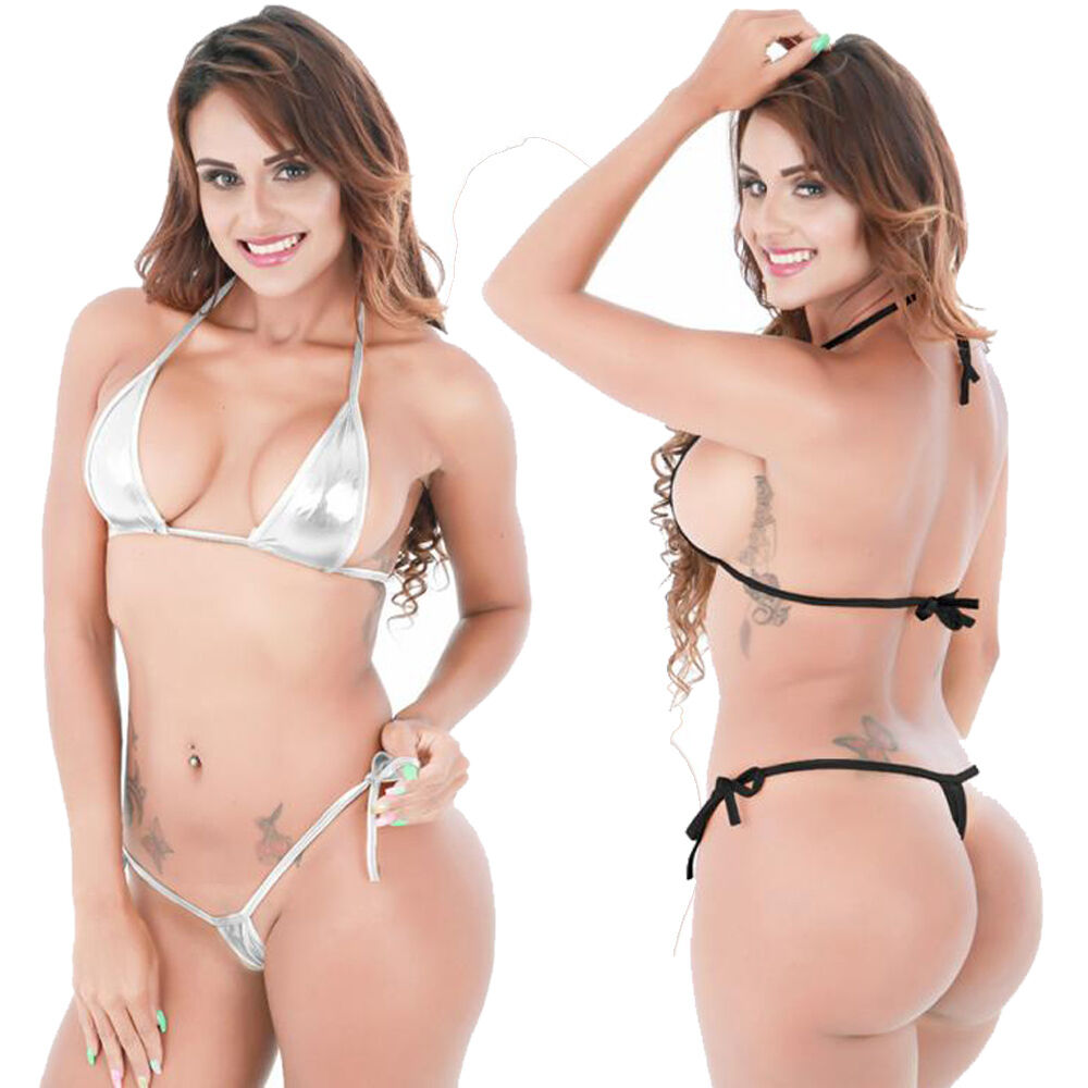 Women Three-point Bikini Shiny lingerie Micro Halter Top   G-String Set mt