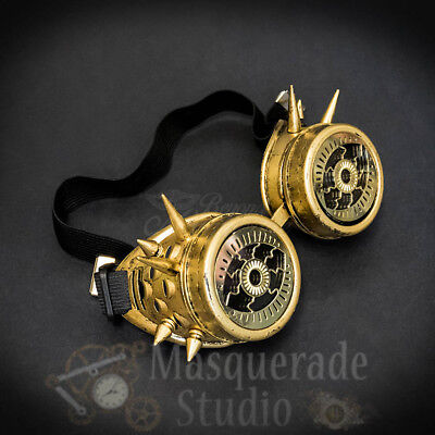 Mens Steampunk Spiked Goggles Crazy Eyes Costume Masquerade Accessory [Gold]](Crazy Eyes Costume)