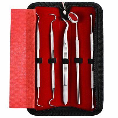 5 Set Of Stainless Steel Dentist Tools Hygiene Deep Cleaning Teeth Dental Kit Us