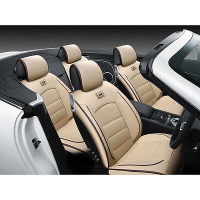 Top Beige Universal Luxury Pu Leather Seat Covers 5 Seats Car Suv Sedan Seat Set