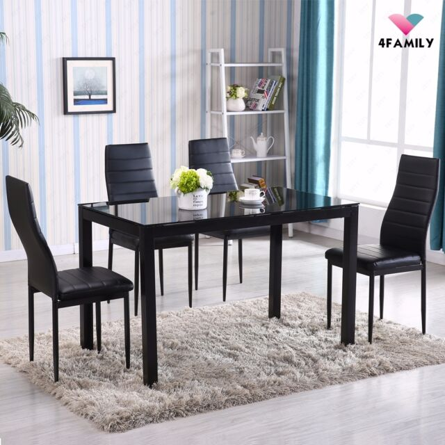 5 piece dining table set 4 chairs glass metal kitchen room breakfast furniture - Four Dining Room Chairs