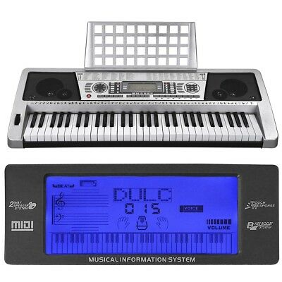 61 Key Music Digital Electronic Keyboard Electric Piano LCD Organ 3 Lesson Mode