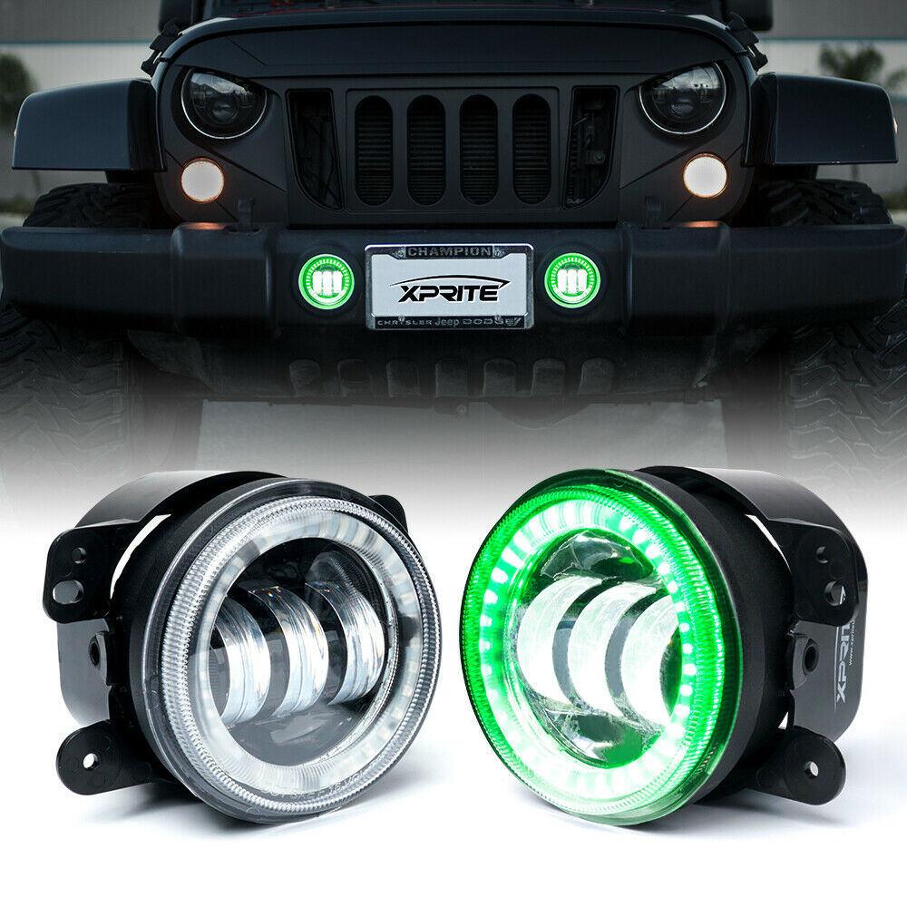 """Pair 4"""" 60W Cree LED Fog Lights w/ Green DRL Halo Ring For Jeep Wrangler JK/TJ"""
