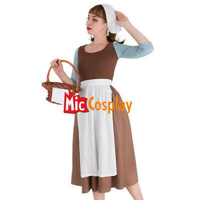 Cinderella Cosplay Costume Brown Housemaid Dress with scarf - Ladies Cinderella Costume