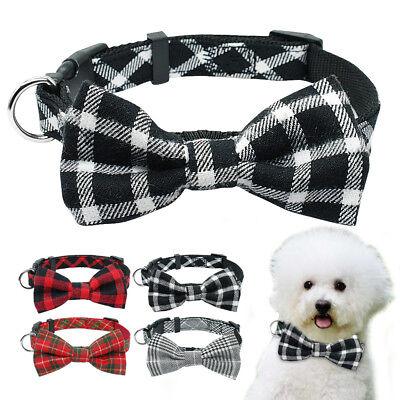Pet Dog Bow Tie Collar for Small Medium Dog Cat Fabric Plaid Necklace Puppy S M Fabric Small Cat Collar