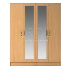 Classic 4 door double mirrored wardrobe beech effect