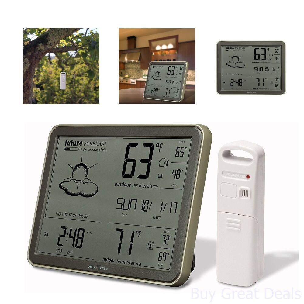 Digital Atomic Clock Weather Forecast Reader Date Temperature Remote Sensor New