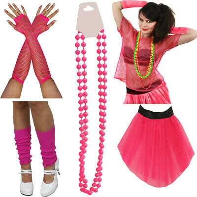 WEAR IT PINK LADIES 1980S NEON HOT PINK SET OF 5 RETRO ACCESSORIES MARATHON RACE (1980 S Costumes)
