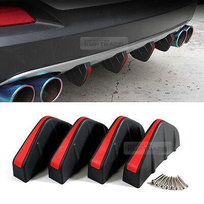 Rear Bumper Diffuser Canard Shark Pin Air Spoiler 4P Black&Red for Universial