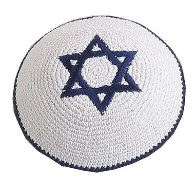 Kippah Yarmulke Jewish Judaica Yamaka Kippa Shabbat Star Of David Magen White