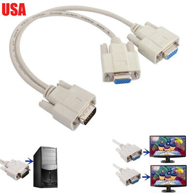 1 PC TO 2 LCD TV MONITOR SVGA Y SPLITTER 2 PORT CABLE VGA LEAD segunda mano  Embacar hacia Argentina