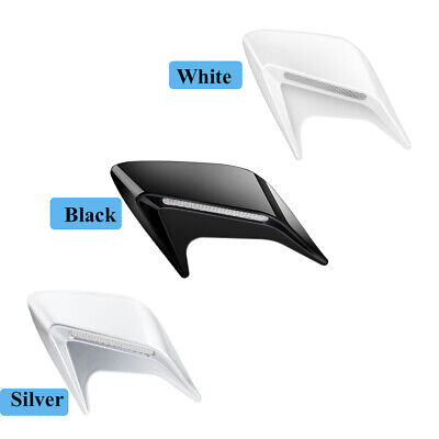 2x New Universal Side Air Flow Vent Fender Cover Intake Decoration Sticker White