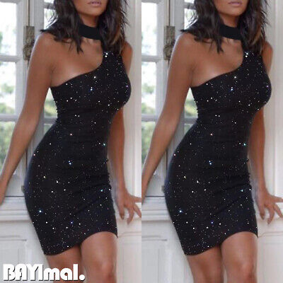 Women Sequin Off Shoulder Bodycon Mini Dress Ladies Evening Party Ball Prom Gown