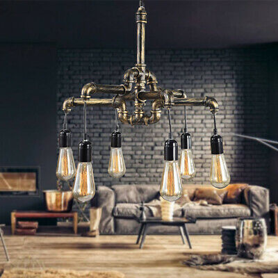 Industrial Retro Iron Water Pipe Chandelier Ceiling Light Pendant Lamp Fixture
