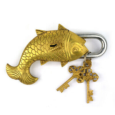 Fish Shape Brass Key Lock Handcrafted Padlock with 2 Keys Security
