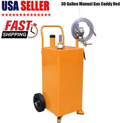 30 Gallon Gas Caddy Tank With Pump Hose Fuel Storage Gasoline Fluid Diesel Usa