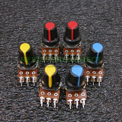 6x 100k Ohm Linear Taper Dual Gang Rotary Potentiometers B100k Wknob 6pcs U40