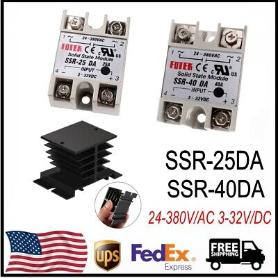 Ssr-25da Ssr-40da Solid State Relay Alloy Heat Sink 24-380vac 3-32vdc Us Stock