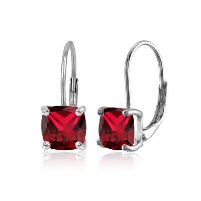 7x7mm Created Ruby Cushion-Cut Leverback Earrings in 925 Sterling Silver Created Ruby Leverback Earrings